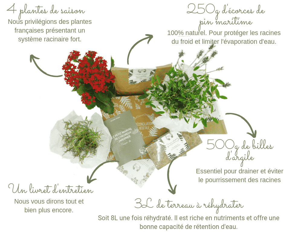 Retrouvez tout ce que contient nos box de jardinage