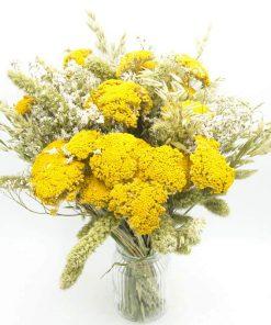 Bouquet de fleurs séchées à base d'achillea naturel jaune