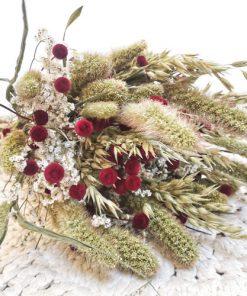 Bouquet de fleurs séchées champêtre rouge
