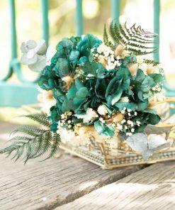 Bouquet de fleurs séchées champêtre hortensia vert.