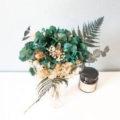 Bouquet de fleurs séchées hortensia vert et fougère
