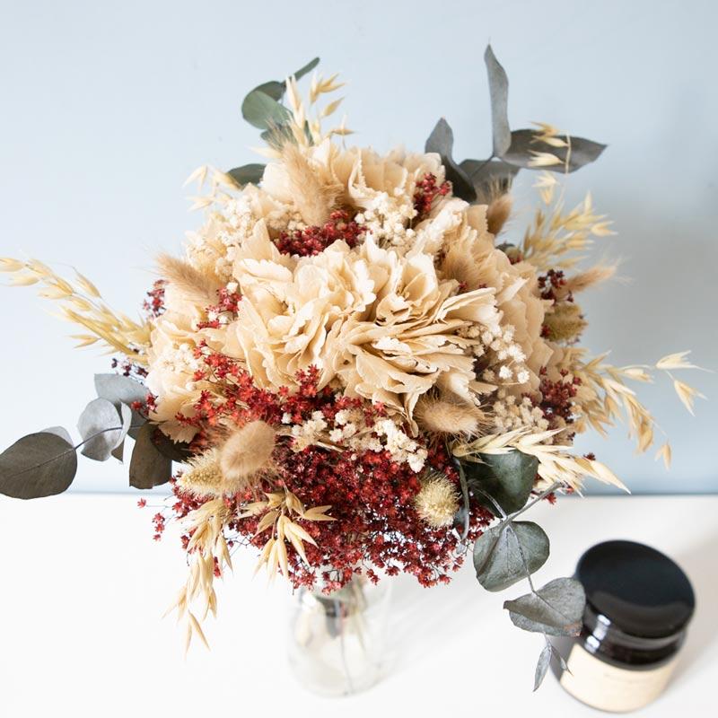 Bouquet de fleurs séchées aux couleurs de noel