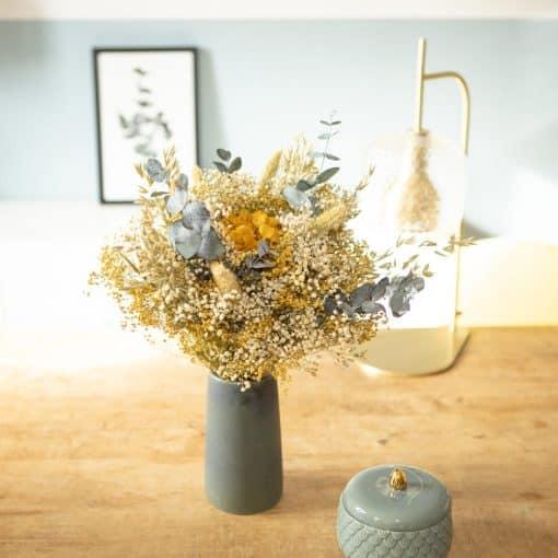 Bouquet fleurs séchées jaune et vert