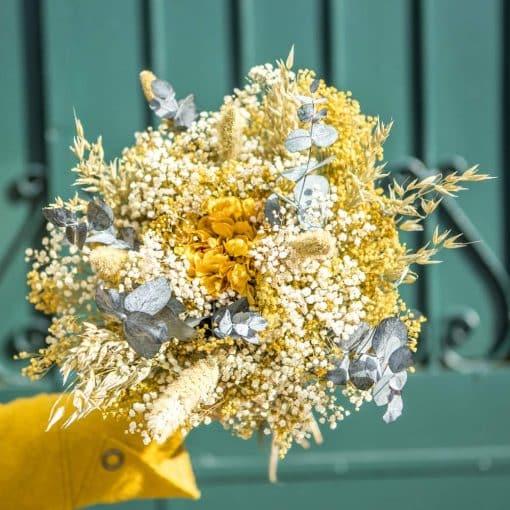 Bouquet fleurs séchées jaune