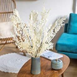 Bouquet fleurs séchées ruscus blanc