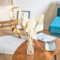 botte fleurs séchées palmes blanches