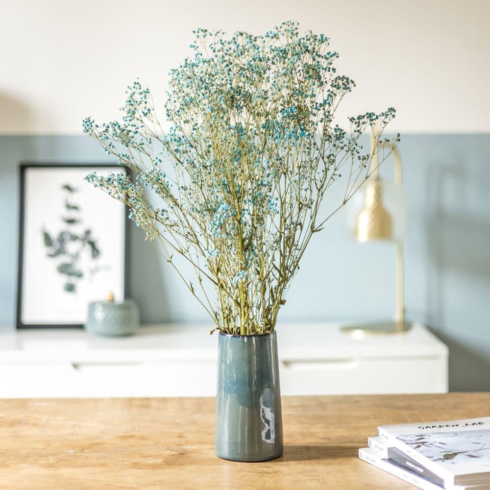 Bouquet de gypsophile sec bleu
