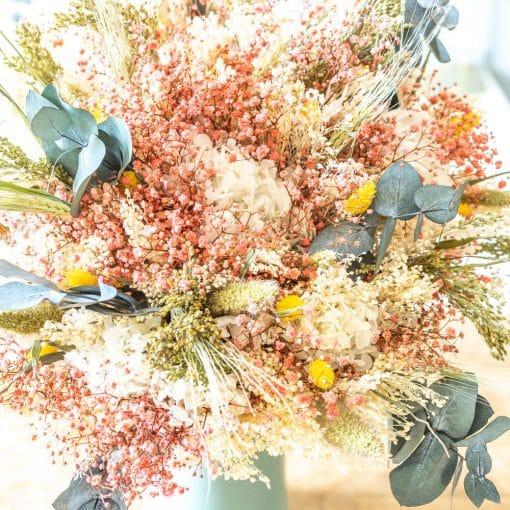 bouquet fleurs séchées rose et jaune
