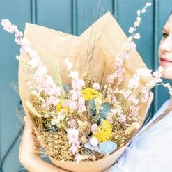bouquet fleurs séchées delphinium